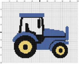 Beginner's Blue Tractor Counted Cross Stitch Sewing Kit